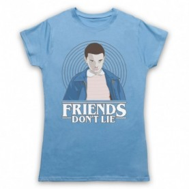 Stranger Things Elle Eleven 11 Friends Don't Lie Womens Light Blue T-Shirt