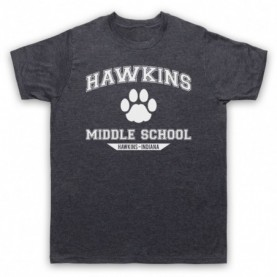 Stranger Things Hawkins Middle School Paw Logo Mens Heather Slate T-Shirt