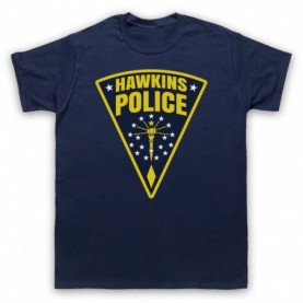 Stranger Things Hawkins Police Badge Logo Mens Navy Blue T-Shirt