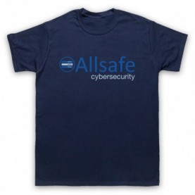Mr Robot Allsafe Logo Mens Navy Blue T-Shirt