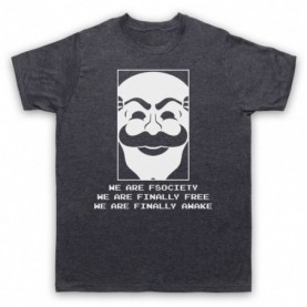 Mr Robot We Are Fsociety We Are Finally Free We Are Finally Awake Mens Heather Slate T-Shirt
