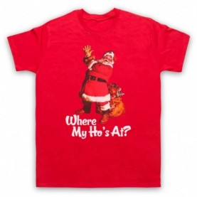 Where My Ho's At Santa Claus Father Christmas Funny Parody Slogan Mens Red T-Shirt