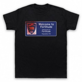 Fortitude Welcome Sign Mens Black T-Shirt