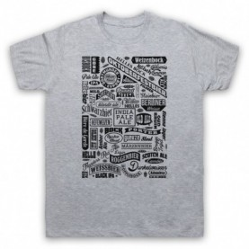 Craft Beer Types Typography Love Of Real Ale & Beer Mens Heather Grey T-Shirt