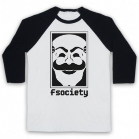 Mr Robot Fsociety Logo Adults White & Black Baseball Tee