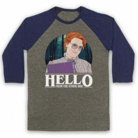 Stranger Things Barb Hello From The Other Side Adults Grey & Navy Blue Baseball Tee