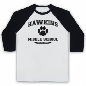 Stranger Things Hawkins Middle School Paw Logo Adults White & Black Baseball Tee