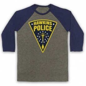 Stranger Things Hawkins Police Badge Logo Adults Grey & Navy Blue Baseball Tee