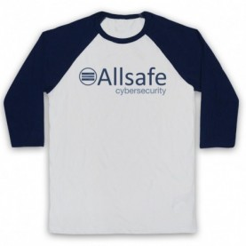 Mr Robot Allsafe Logo Adults White & Navy Blue Baseball Tee