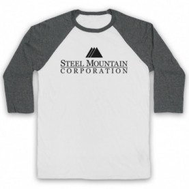 Mr Robot Steel Mountain Logo Adults White & Grey Baseball Tee