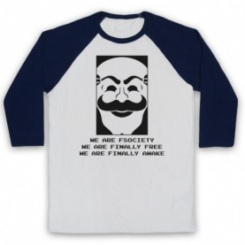 Mr Robot We Are Fsociety We Are Finally Free We Are Finally Awake Adults White & Navy Blue Baseball Tee