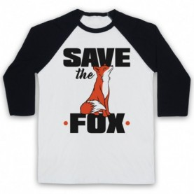 Save The Fox Animal Rights Anti Hunting Protest Slogan Adults White & Black Baseball Tee