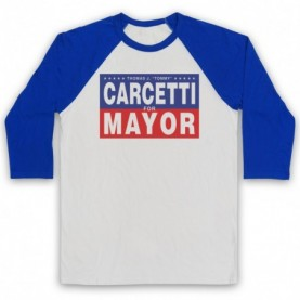 Wire Carcetti For Mayor Adults White & Royal Blue Baseball Tee