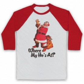 Where My Ho's At Santa Claus Father Christmas Funny Parody Slogan Adults White & Red Baseball Tee