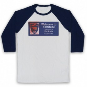 Fortitude Welcome Sign Adults White & Navy Blue Baseball Tee