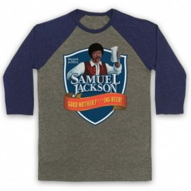 Chappelle Show Samuel Jackson Good Motherf'ing Beer Adams Parody Adults Grey & Navy Blue Baseball Tee