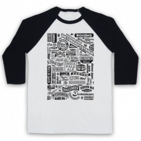 Craft Beer Types Typography Love Of Real Ale & Beer Adults White & Black Baseball Tee