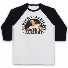 Dazed And Confused Alright Alright Alright Adults White & Black Baseball Tee