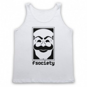 Mr Robot Fsociety Logo Adults White Tank Top