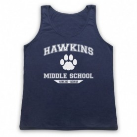 Stranger Things Hawkins Middle School Paw Logo Adults Navy Blue Tank Top