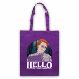 Stranger Things Barb Hello From The Other Side Purple Tote Bag