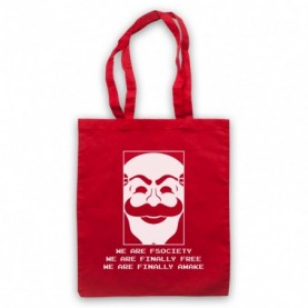 Mr Robot We Are Fsociety We Are Finally Free We Are Finally Awake Red Tote Bag