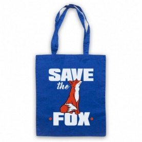 Save The Fox Animal Rights Anti Hunting Protest Slogan Royal Blue Tote Bag