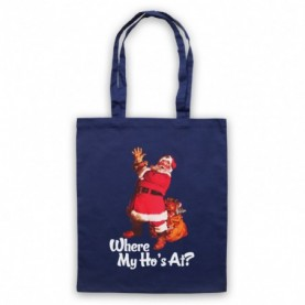 Where My Ho's At Santa Claus Father Christmas Funny Parody Slogan Navy Blue Tote Bag