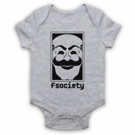 Mr Robot Fsociety Logo Heather Grey Baby Grow