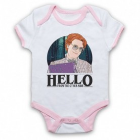 Stranger Things Barb Hello From The Other Side White & Light Pink Baby Grow