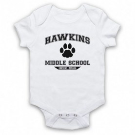 Stranger Things Hawkins Middle School Paw Logo White Baby Grow