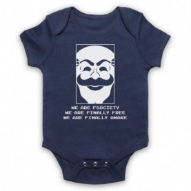 Mr Robot We Are Fsociety We Are Finally Free We Are Finally Awake Navy Blue Baby Grow