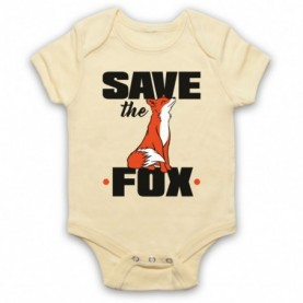 Save The Fox Animal Rights Anti Hunting Protest Slogan Light Yellow Baby Grow