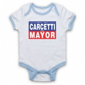 Wire Carcetti For Mayor White & Light Blue Baby Grow