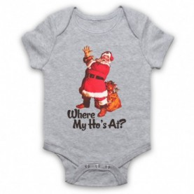 Where My Ho's At Santa Claus Father Christmas Funny Parody Slogan Heather Grey Baby Grow