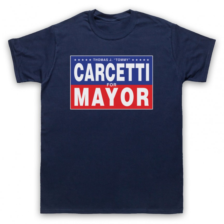 Wire Carcetti For Mayor Mens Navy Blue T-Shirt