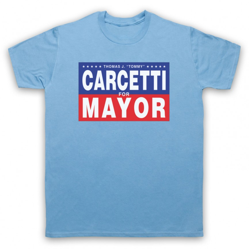 Wire Carcetti For Mayor Mens Sky Blue T-Shirt