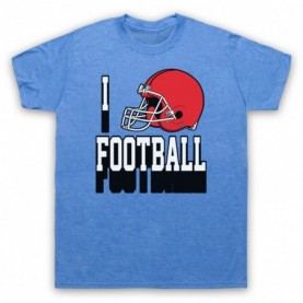 I Love Football American Football Helmet Mens Heather Blue T-Shirt