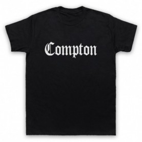Compton Text Logo Mens Black T-Shirt