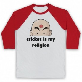 Cricket Is My Religion Cricket Slogan Adults White & Red Baseball Tee