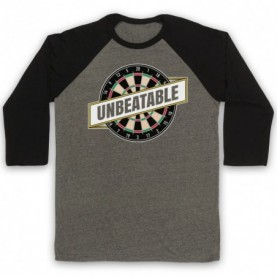 Darts Unbeatable Darts Slogan Adults Grey & Black Baseball Tee