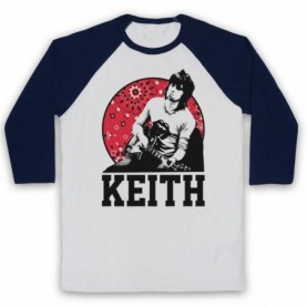 Rolling Stones Keith Richards Guitarist Adults White & Navy Blue Baseball Tee