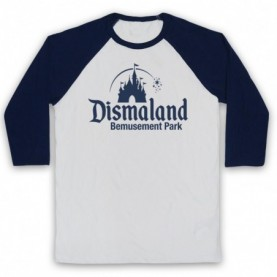 Banksy Dismaland Bemusement Park Adults White & Navy Blue Baseball Tee