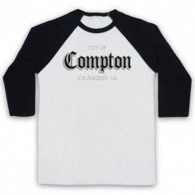 City Of Compton Los Angeles Adults White & Black Baseball Tee