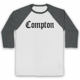 Compton Text Logo Adults White & Grey Baseball Tee