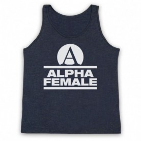 Alpha Female Womens Fitness Gym Workout Slogan Adults Heather Navy Blue Tank Top