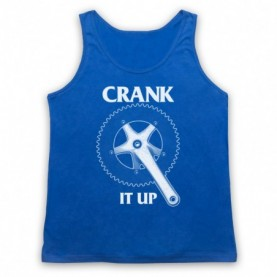 Crank It Up Cycling Slogan Adults Royal Blue Tank Top
