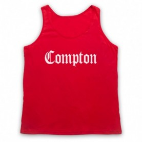 Compton Text Logo Adults Red Tank Top