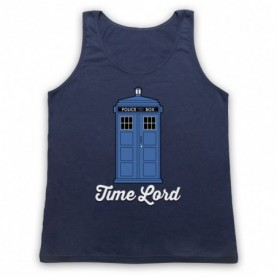 Dr Who Time Lord Tardis Adults Navy Blue Tank Top