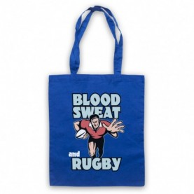 Blood Sweat And Rugby Rugby Slogan Royal Blue Tote Bag